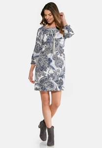 Plus Size Paisley Puff Print Swing Dress