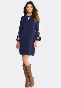 Embroidered Bell Sleeve Swing Dress