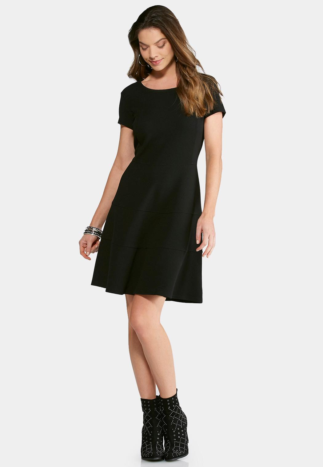 f47b4ec6bb Textured Fit and Flare Dress A-line   Swing Cato Fashions