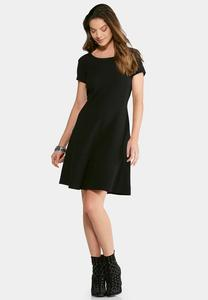 Plus Size Textured Fit and Flare Dress