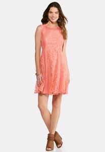 Plus Size Melon Crochet Fit and Flare Dress