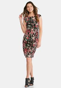 Plus Size Floral Cap Sleeve Midi Dress