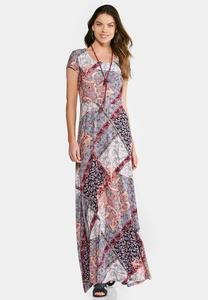 Plus Size Floral Patchwork Maxi Dress