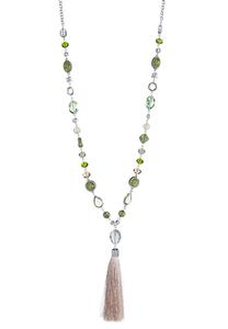 Tasseled Glass Bead Necklace