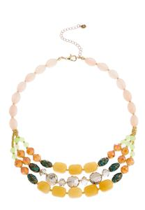 Layered Mixed Glass Bead Necklace