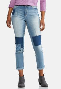 Mixed Patch Ankle Jeans