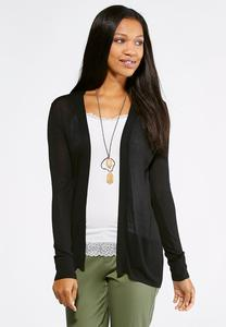 Pointelle Back Cardigan Sweater
