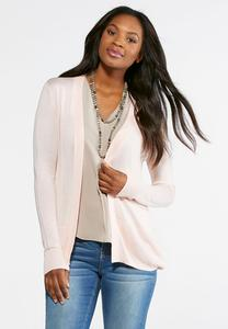 Pointelle Back Cardigan Sweater-Plus