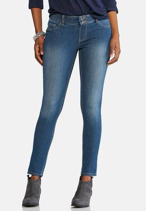 Button Front Stretch Jeans