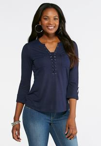 Pocket Front Lace Up Top
