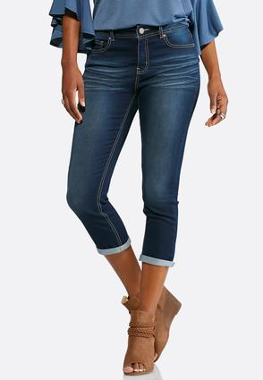Whiskered Cropped Jeans
