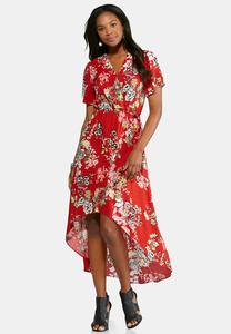 Surplice Flutter Sleeve Maxi Dress-Petite
