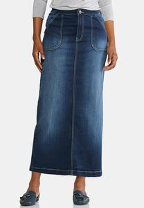 Patch Pocket Denim Maxi Skirt-Plus