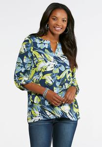 Botanical Faux Wrap Hem Top