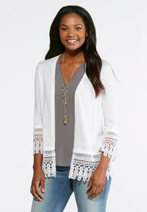 Crochet Trim Cardigan Sweater