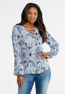 Embellished Neck Paisley Top-Plus