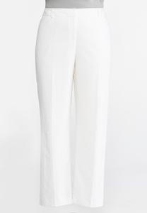 White Linen Trouser Pants-Plus