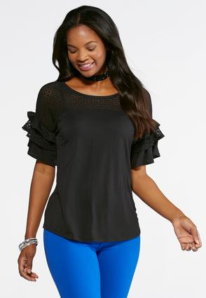 Solid Lace Flutter Sleeve Top