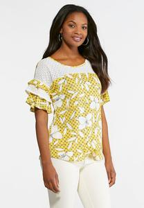 Lily Lace Flutter Sleeve Top-Plus