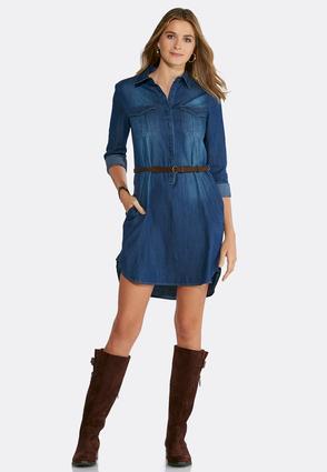 Plus Size Belted Denim Shirt Dress Plus Sizes Cato Fashions