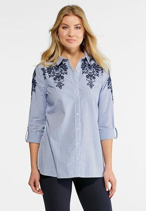 Embroidered Floral Striped Shirt- Plus