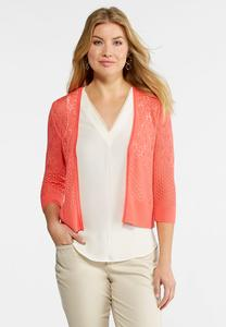 Plus Size Pointelle Sweater Cardigan
