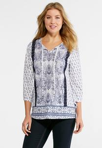 Embroidered Mix Paisley Top-Plus
