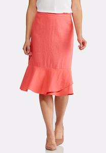 Coral Linen Flounce Skirt-Plus