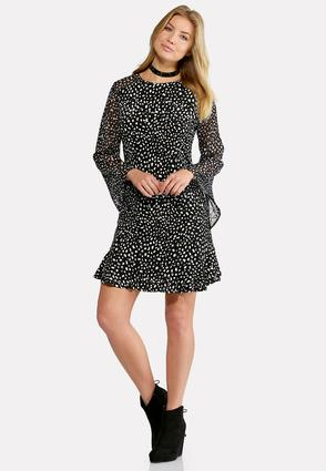 Plus Size Bell Sleeve Polka Dot Flounce Dress