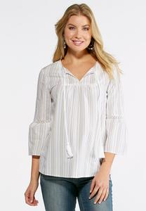 Lacy Stripe Bell Sleeve Top- Plus