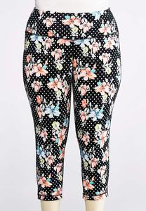 Floral Dot Cropped Leggings-Plus