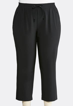 Cropped Stretch Athleisure Pants- Plus