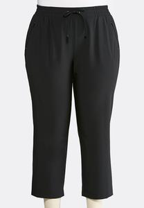 Cropped Stretch Athleisure Pants-Plus