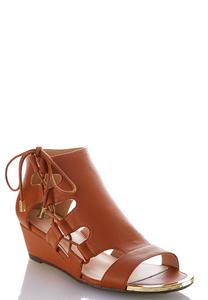 Wide Width Lace Up Side Wedge Sandals