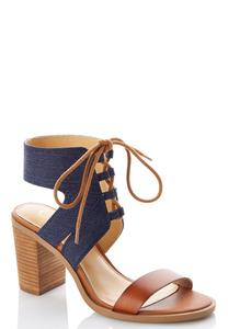 Lace Up Denim Heeled Sandals