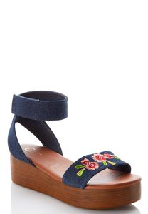Embroidered Denim Flatform Wedges