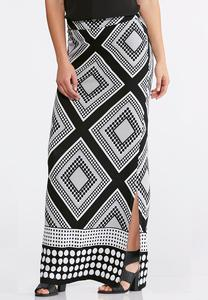 Geo Black and White Maxi Skirt-Plus