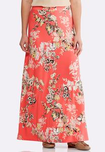 Melon Floral Maxi Skirt-Plus