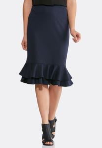 Ruffled Pull-On Skirt-Plus