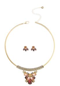 Jeweled Necklace Earring Set