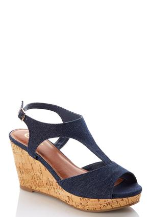 T- Strap Denim Wedges