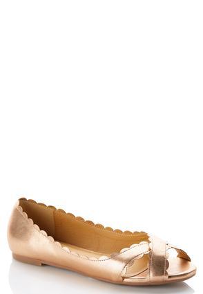 Scalloped Peep Toe Flats | Tuggl