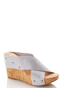 Metallic Crossband Platform Wedges