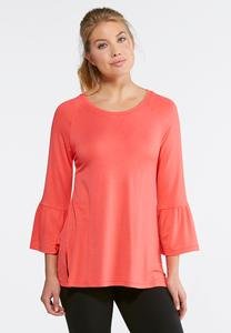 Ruffle Sleeve Raglan Top