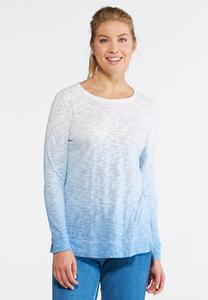 Dip Dyed Hacci Knit Top-Plus