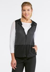 Stretch Polka Dot Hooded Vest