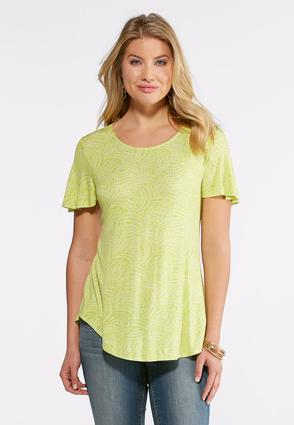 Lime Flutter Sleeve Top- Plus