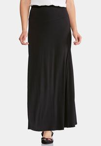Solid Seamed Maxi Skirt