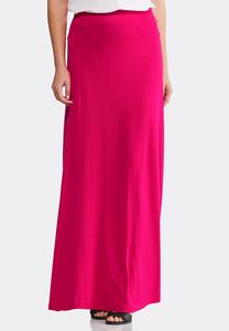 Solid Seamed Maxi Skirt-Plus