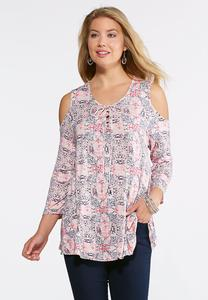 Tile Scroll Cold Shoulder Top